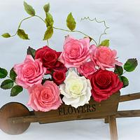 A cart with roses