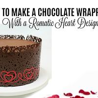 Chocolate wrapped Valentines cake with heart design!