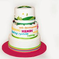 Corporate cake with handcut logo and landscape