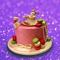 Cute cake with macaroons