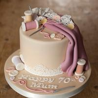 Sewing birthday cake for 70th