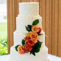 textured buttercream wedding with fresh rose cascade
