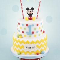 Mickey Mouse Chevron Cake