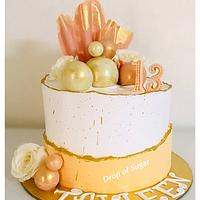 Whipped Cream Fault Line Peach and White Cake