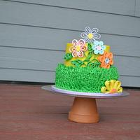 Spring Quilled Flower Buttercream Cake