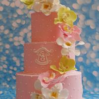 A simple orchid wedding cake