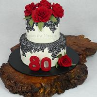 Rose and Lace 80th Birthday Cake