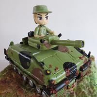 A tank cake for Fedi