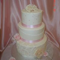 Rose and Pearl Wedding Cake