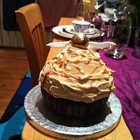 Butterbeer giant birthday cupcake