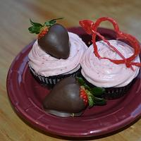 Chocolate Mocha Cupcakes w/ Strawberry CreamCheese Buttercream