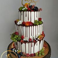 Fruit drip wedding cake