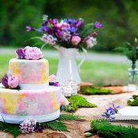 Spring watercolor cake