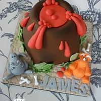 Volcano & dinosaur birthday cake by Isabelle Bambridge