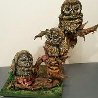 Harry,lilly and Percy the carved owl cakexxx