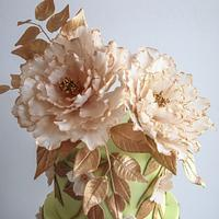 Pink Ruffles and Peonies with Rose Gold  Wedding Cake by Alpa Boll - Simply Alpa