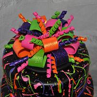 Neon Paint Splatter Cake!
