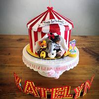 Animal circus cake- rotating roof