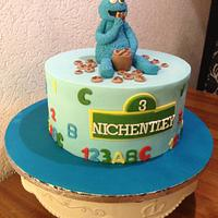 Cookie monster theme cake