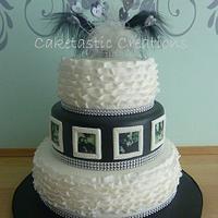 Black & White Ruffles Engagement Cake