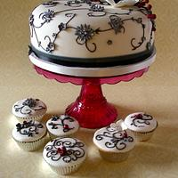 Black & white winter wedding cake & cupcakes