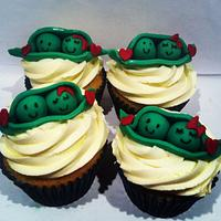 Peas in a pod cupcakes