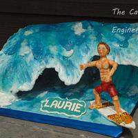 Surfer on a wave cake