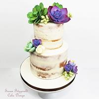 Semi Naked Wedding Cake with Sugar Succulents