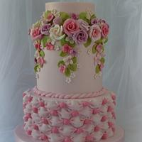 Pink Roses and Billowing Cake