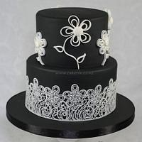 Black and White with Lace and Quilled Flowers