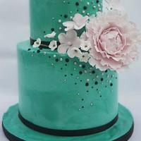 Teal with pink peony