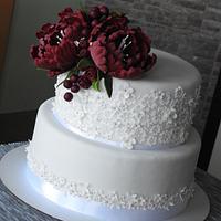 White and burgundy