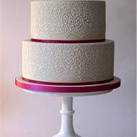 Lace stencil wedding cake