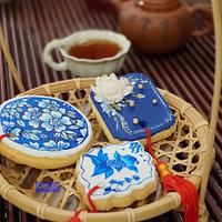 Hand Painting Blue and White Chinese Parcel Cookies