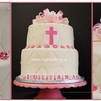 Pretty in Pink Baptism Cake