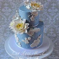 Dahlia's and Lace Birthday Cake