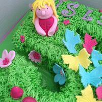 Number 5 fairy garden cake