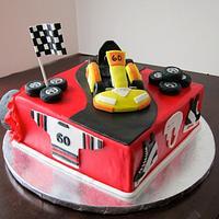 60th birthday hockey/go-kart cake