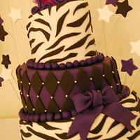 Purple & Black Zebra Topsy Turvy Cake!