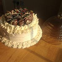 Double Chocolate Cake with Vanilla buttercream and Chocolatecovered Strawberries