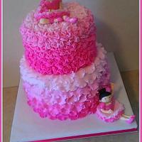 Pink ombre ballerina cake