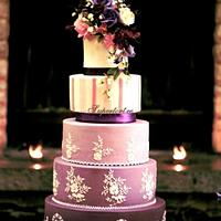 Purple cake and royal icing lace