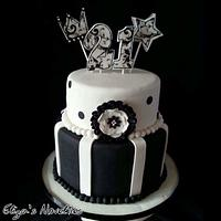 Black and White 21st cake
