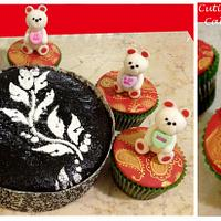 Dark Chocolate Mud Cake and Cupcakes with Teddy Bear toppers (^_^) by Malati