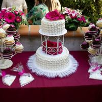 Petal Effect Wedding Cake....with cupcakes and cookies