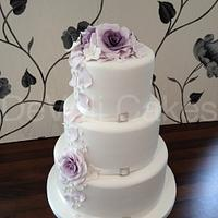 Pretty Purple and Lilac Wedding Cake.