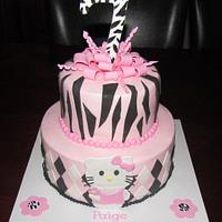 Hello Kitty + Zebra Cake