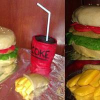 Hamburger menu cake