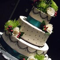 Teal and Black Wedding Cake