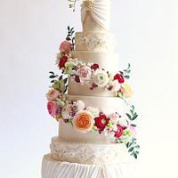 Towering Floral Wedding Cake